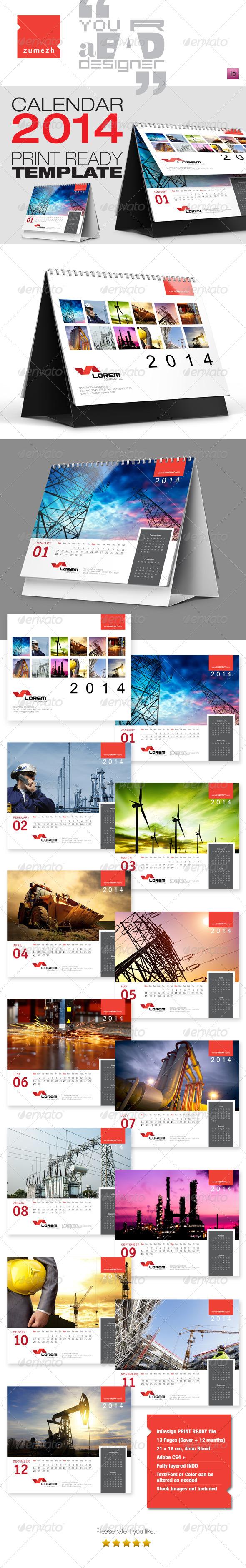 GraphicRiver Premium Desktop Calendar 2014 6232209