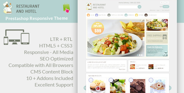 ThemeForest Restaurant Prestashop Responsive Theme 6269295