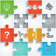 Parts of Paper Puzzles with Icons.  - GraphicRiver Item for Sale