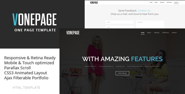 ThemeForest vOnePage Parallax HTML Template 6269392