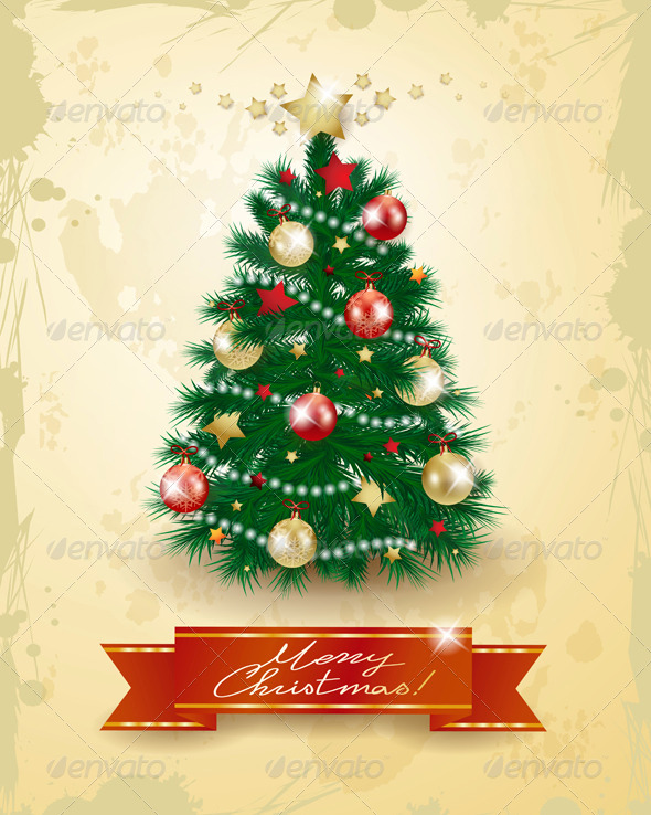 GraphicRiver Christmas Tree on Vintage Background 6270264