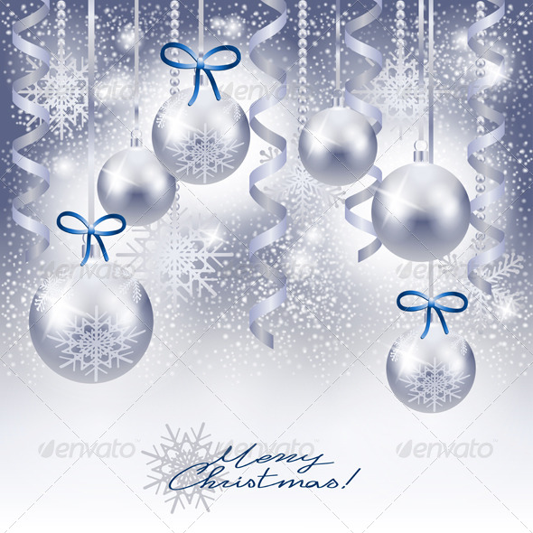 Christmas Background with Baubles in Silver - Christmas Seasons/Holidays