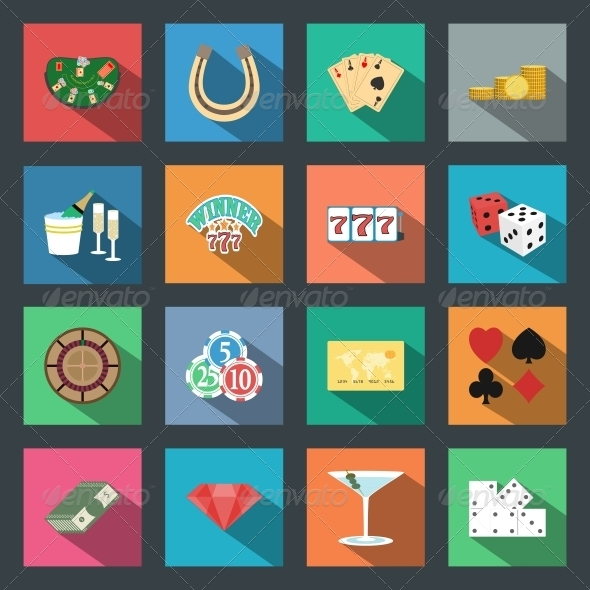 GraphicRiver Casino Flat Icons Set 6272391