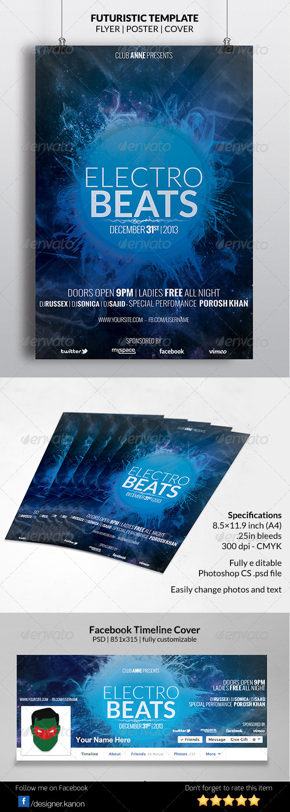 GraphicRiver Blue Futuristic Flyer & Facebook Timeline 6239632