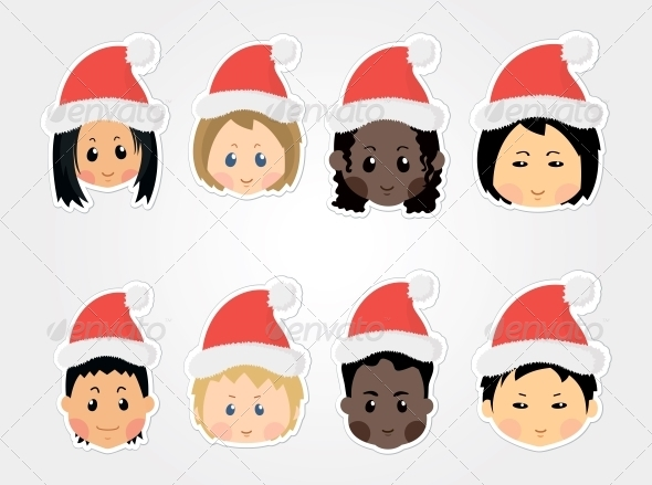 GraphicRiver Christmas Funny Kids Icons 6273191