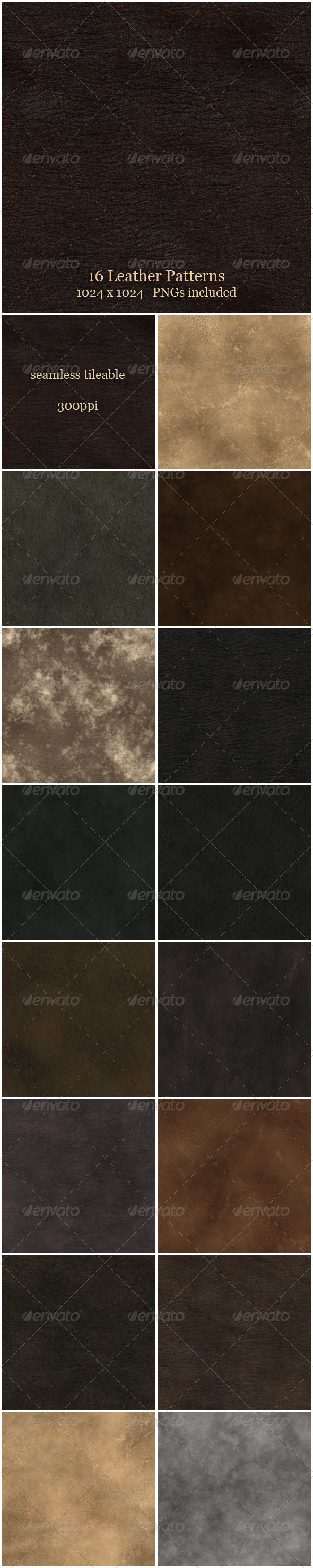 GraphicRiver 16 Leather Patterns 6276074
