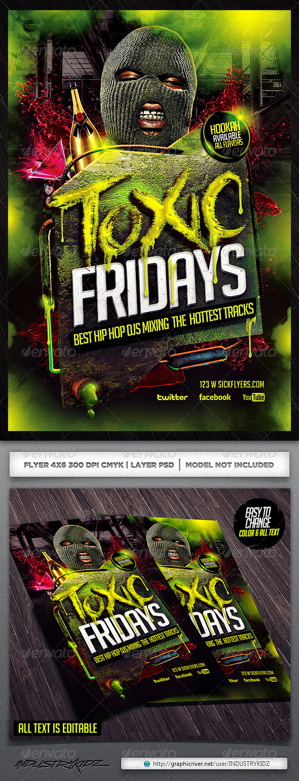 Toxic Hip Hop Flyer Template - Clubs & Parties Events