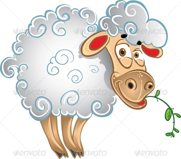 GraphicRiver Bright Sheep with Blade of Grass 6278438
