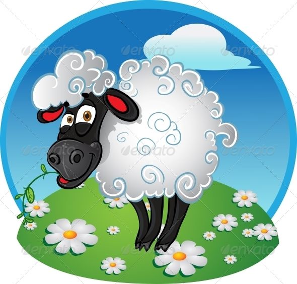 GraphicRiver Sheep with Blade of Grass on Color Background 6278439