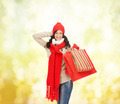 smiling woman in warm clothers with shopping bags - PhotoDune Item for Sale