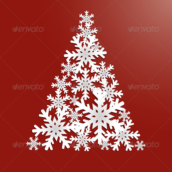 GraphicRiver Christmas Tree with Snowflakes 6278940