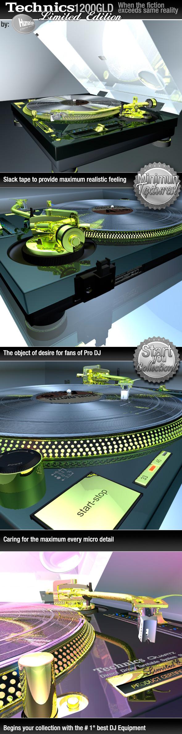 3DOcean Realistic Turntable Technics SL1200GLD 6278953