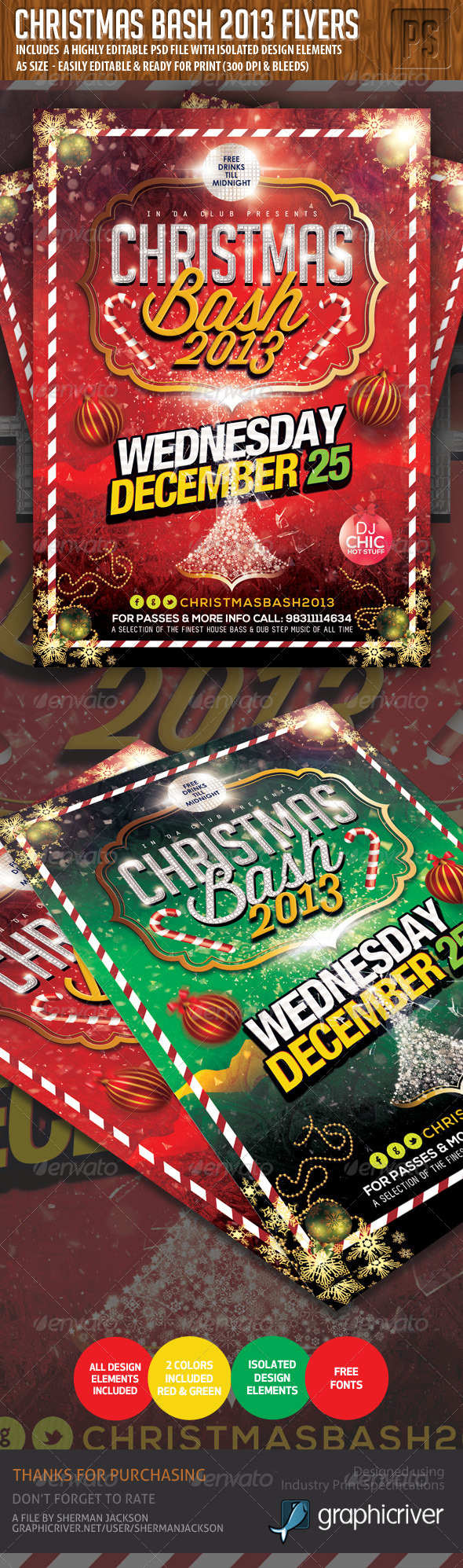Christmas Party Bash Flyer 2013 - Clubs & Parties Events