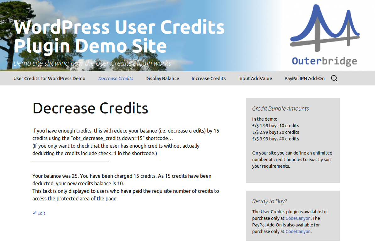 User Credits for WordPress