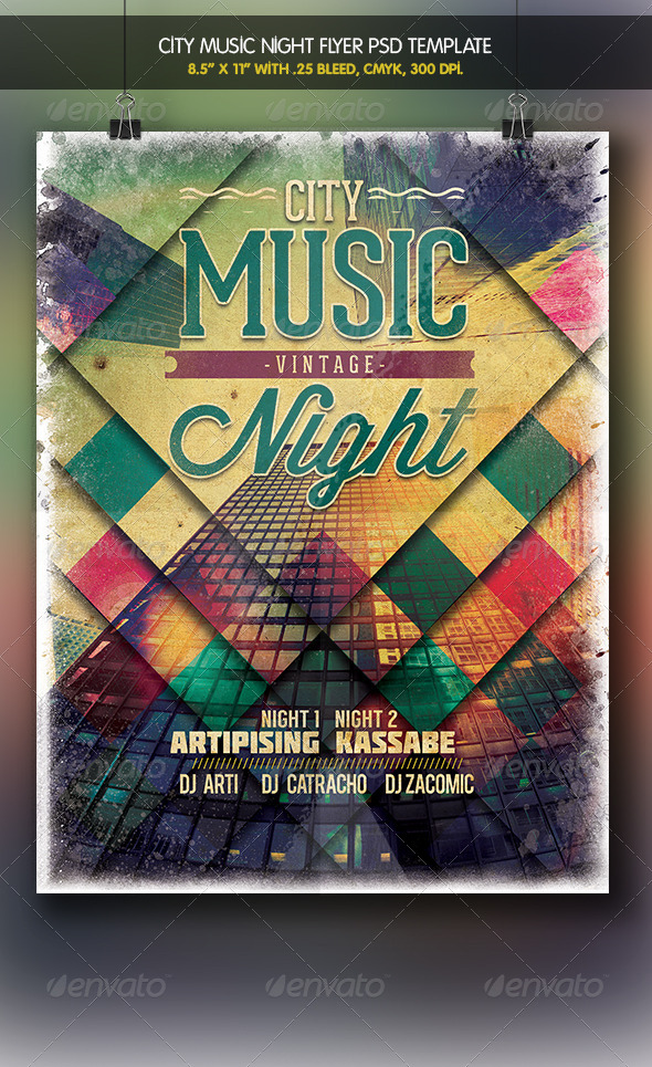 GraphicRiver City Music Vintage Night Flyer Template 6201126