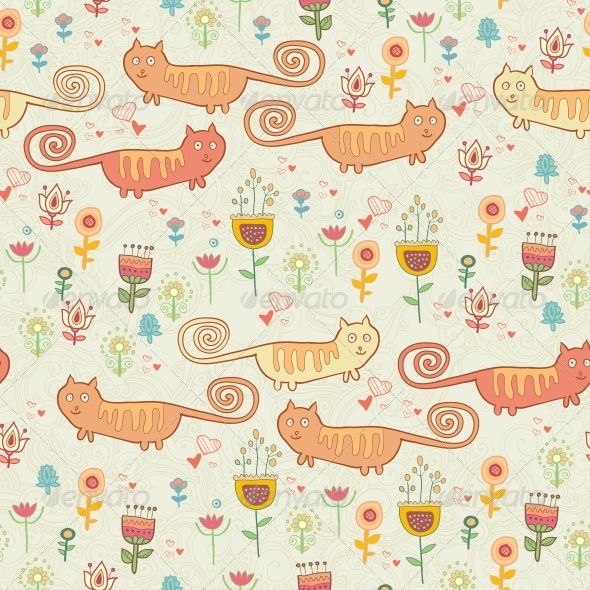 GraphicRiver Childish Seamless Pattern with Cats 6280036