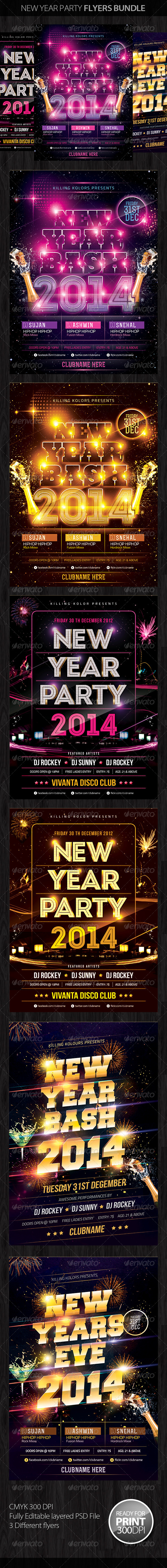 GraphicRiver New Year Party Flyer Bundle 6280221
