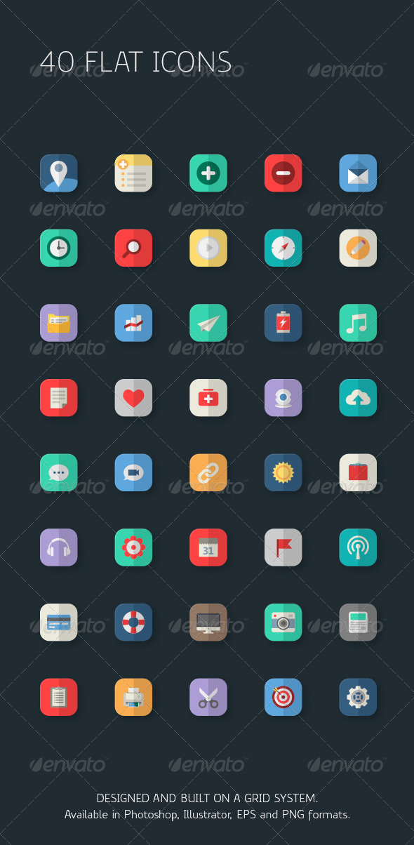 Mixed Flat Icons for Apps - Icons
