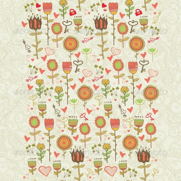 GraphicRiver Cartoon Floral Seamless Pattern 6280427