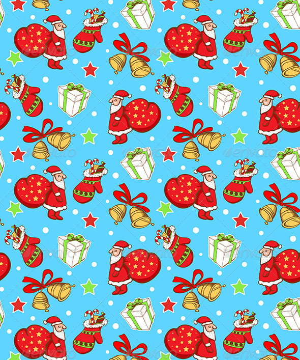 GraphicRiver Seamless Pattern with Santa Claus and Gifts 6280784