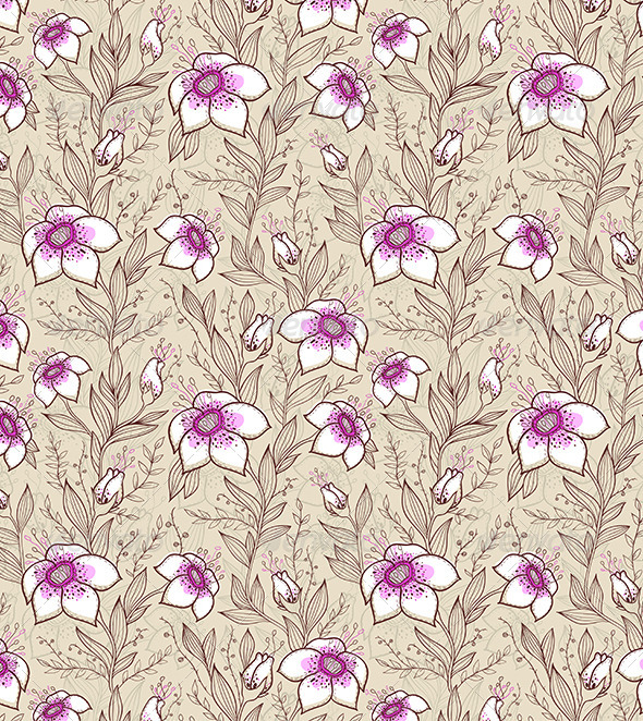 GraphicRiver Pattern with Pink Flowers 6280808