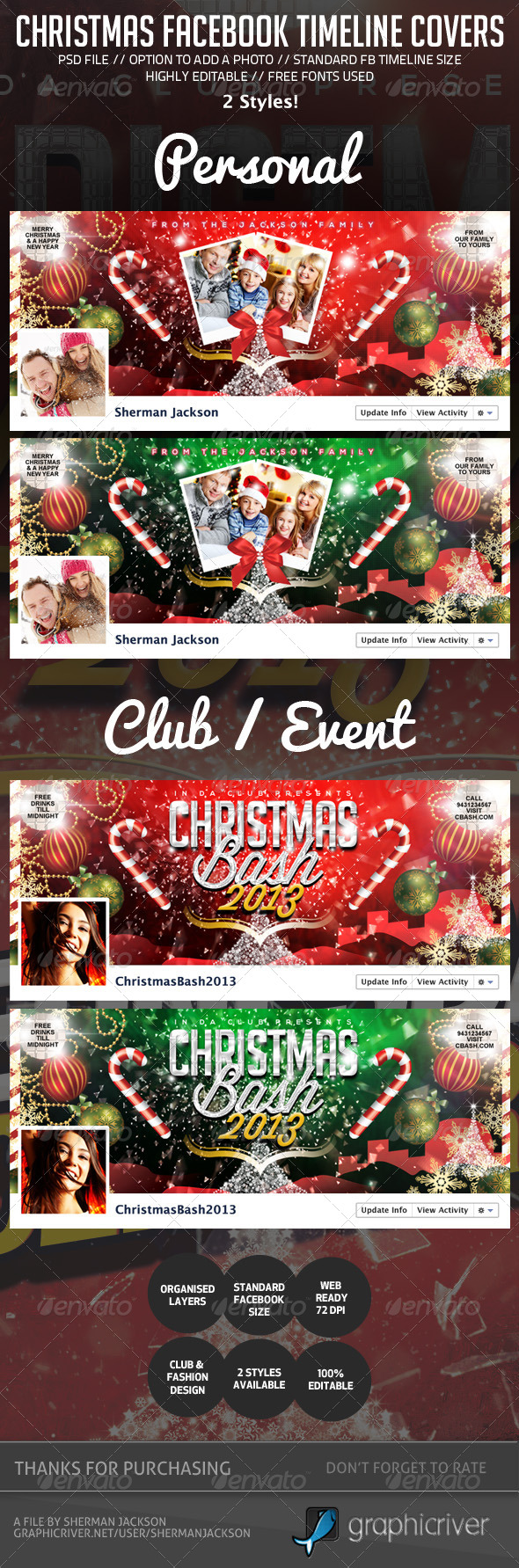 GraphicRiver Christmas Holiday Facebook Timeline Cover 6283184