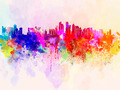 Doha skyline in watercolor background - PhotoDune Item for Sale