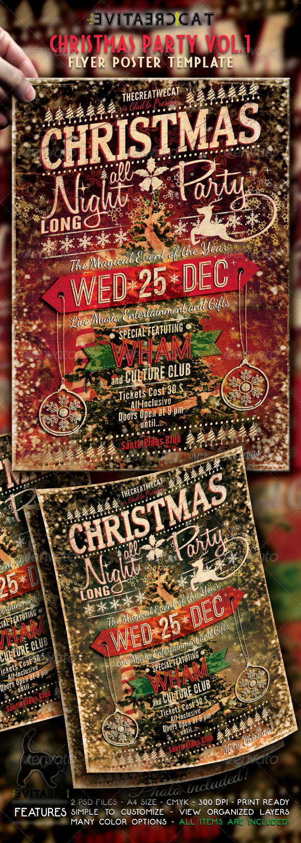 GraphicRiver Christmas Party Vintage Style Flyer Poster Vol 6284797