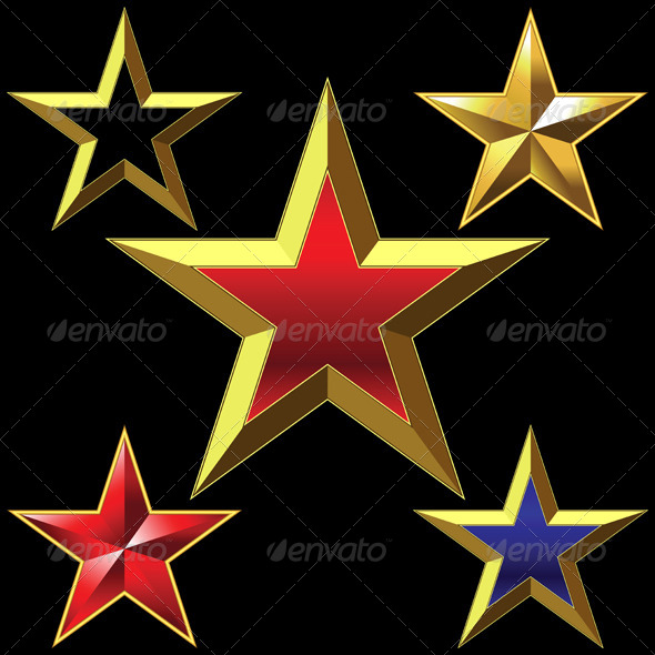 GraphicRiver Vector Set of Golden Shiny Five Pointed Stars 6284971
