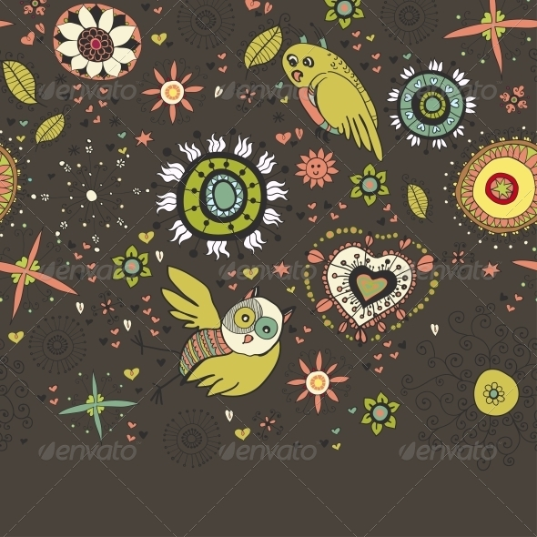 GraphicRiver Floral Background with Birds 6287088