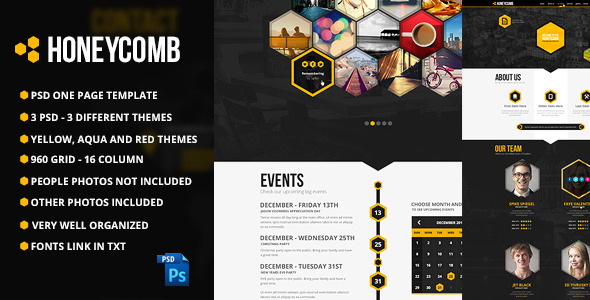 Honeycomb One Page PSD Template - Creative PSD Templates