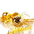 Gold mirror sphere and New Year's tinsel.  - PhotoDune Item for Sale