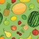 Vector Seamless Pattern of Fruits on Green Background - GraphicRiver Item for Sale