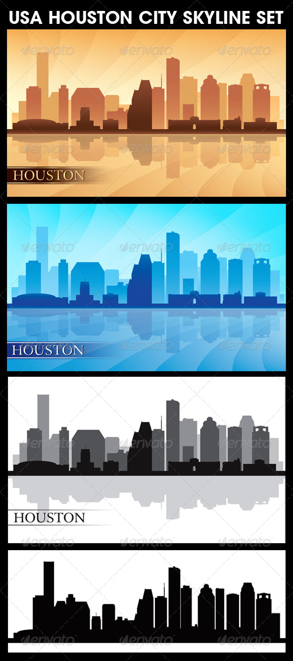 GraphicRiver Houston USA City Skyline Silhouettes Set 6293975