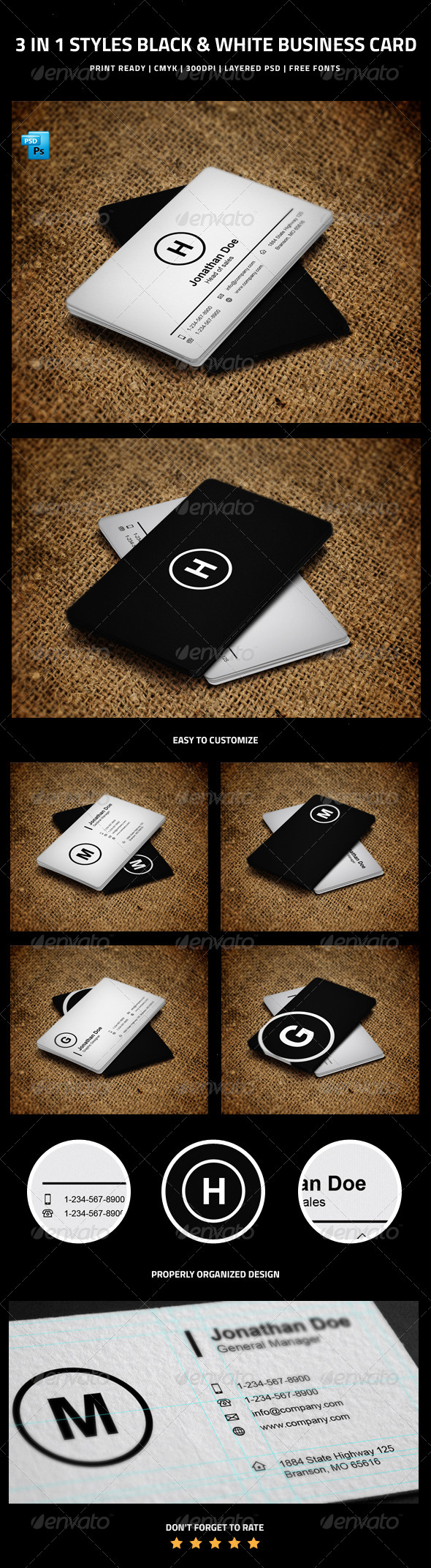 GraphicRiver 3 in 1 Styles Black & White Business Card 6256160