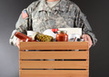 Soldier Holding Food Drive Box - PhotoDune Item for Sale