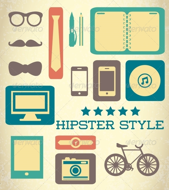 GraphicRiver Flat Hipster Set of Web Elements 6295830