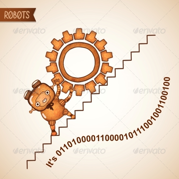 GraphicRiver Robot Pushing Heavy Gear Upstairs 6295941