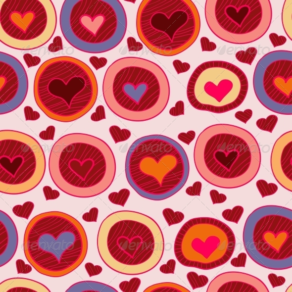 GraphicRiver Bright Valentine Seamless Pattern with Hearts 6296429