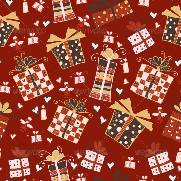 GraphicRiver Red Seamless Pattern with Gifts 6297115