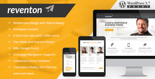 Reventon - Clean Multi-Purpose Responsive Theme - Corporate WordPress