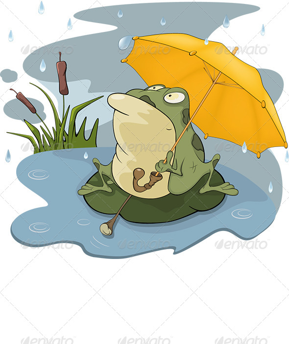 GraphicRiver Frog and Rain Cartoon 6299310