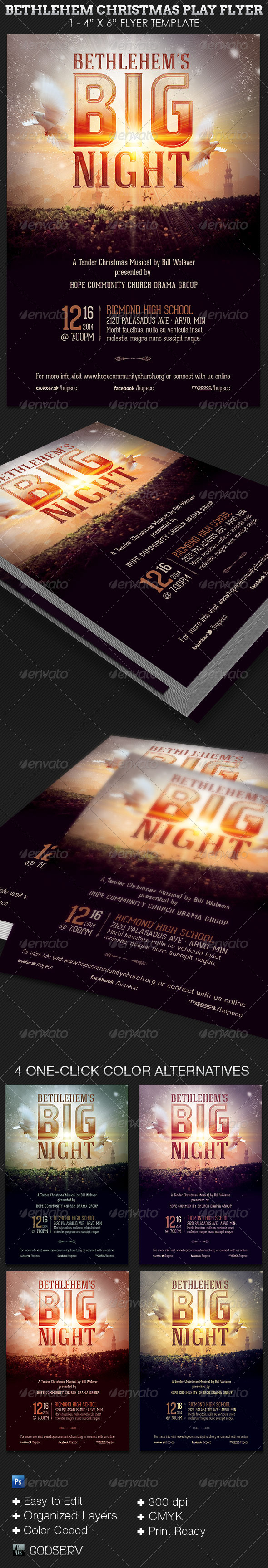 Bethlehem Christmas Play Church Flyer Template - Church Flyers