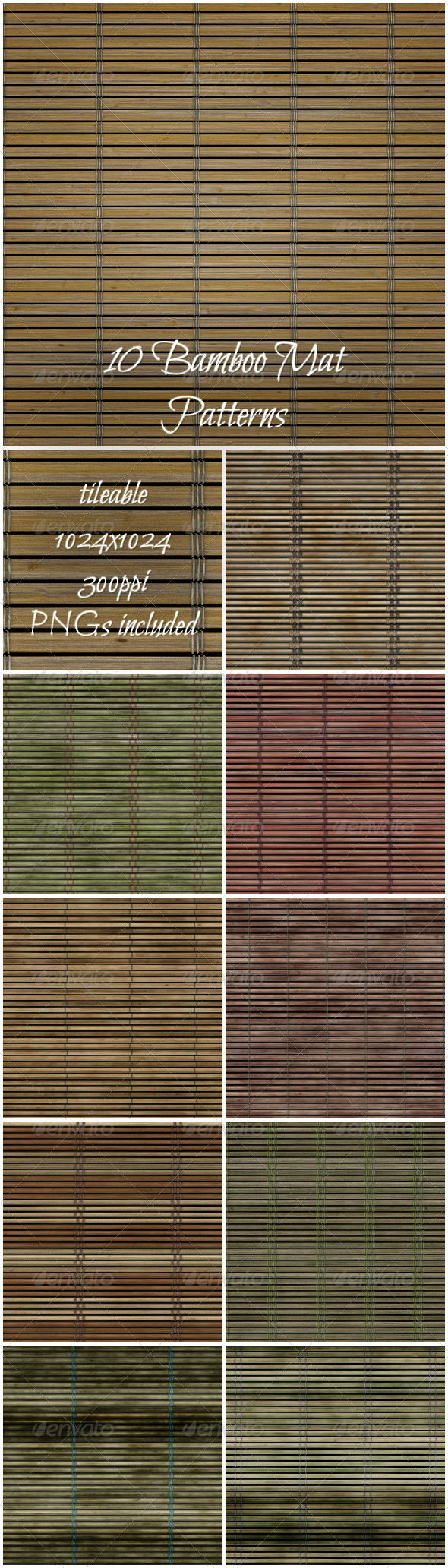 GraphicRiver 10 Bamboo Mat Patterns 6299616