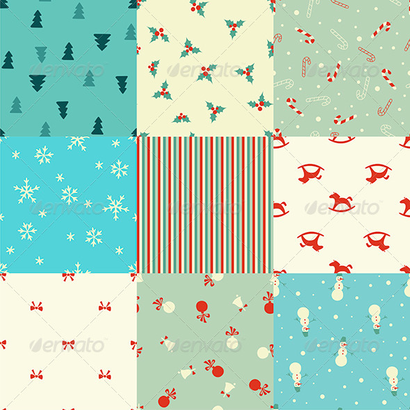 GraphicRiver Set of Seamless Christmas Patterns 6301707