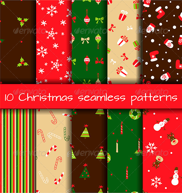 GraphicRiver Set of 10 Seamless Christmas Patterns 6301834