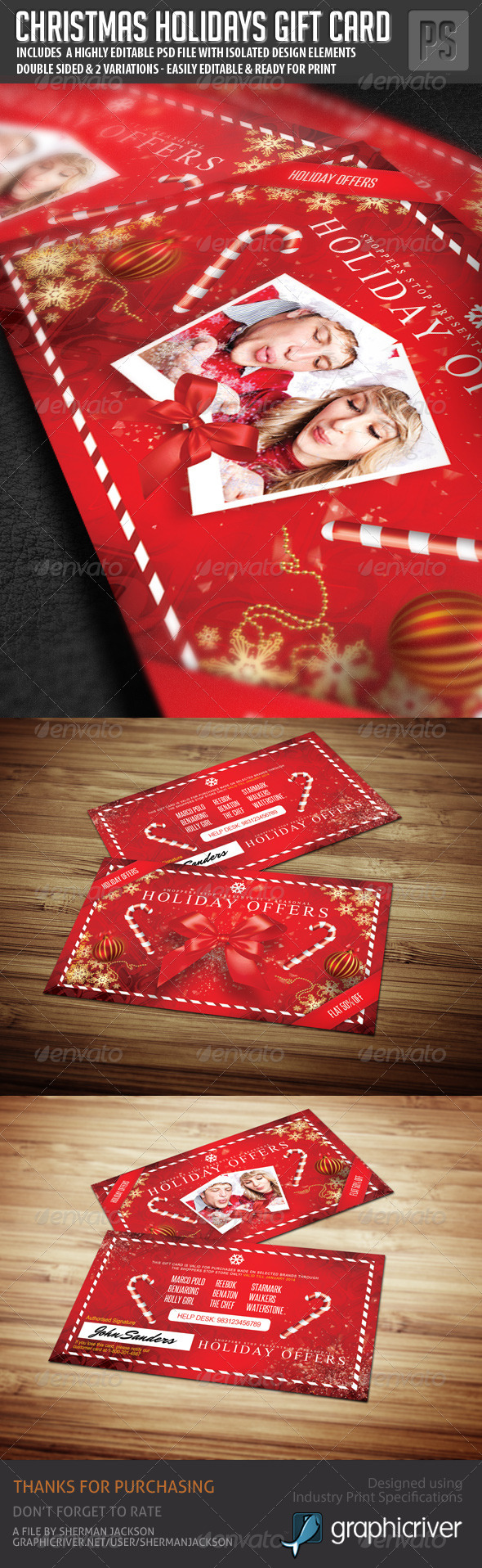 GraphicRiver Christmas Holidays Gift Card Loyalty Card 6302012