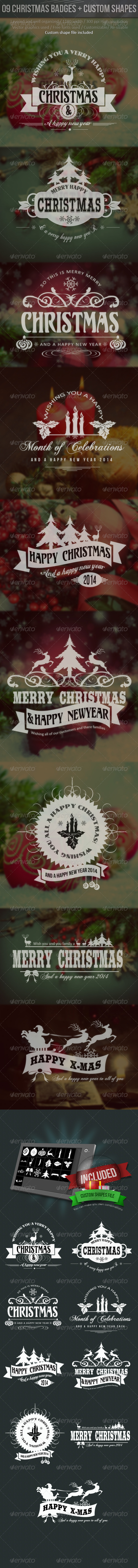 GraphicRiver Christmas Labels With Custom Shapes 6303617