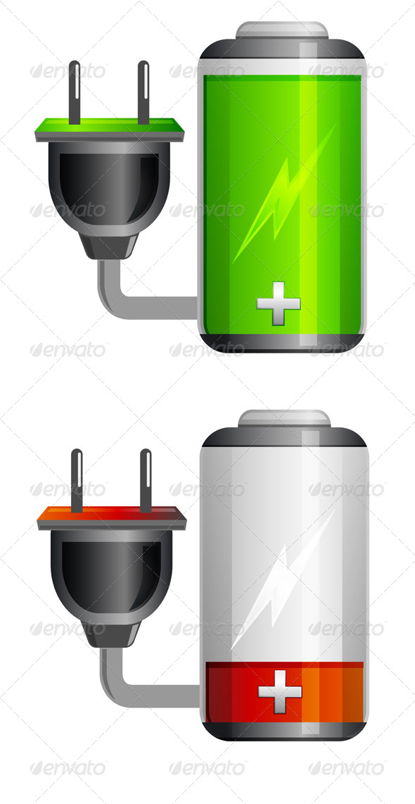 GraphicRiver Battery Charging Icon with Plug Illustration 6303747