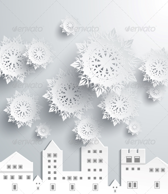 GraphicRiver Paper Snowflakes and Town 6303777